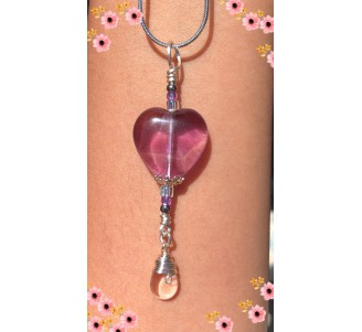 Fluorite and Quartz Heart Pendant with Sterling Silver-9
