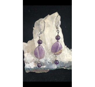 Chevron Amethyst with Stainless Steel -2