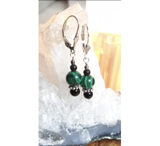 Sterling Silver Malachite and Onyx Dangle Earrings