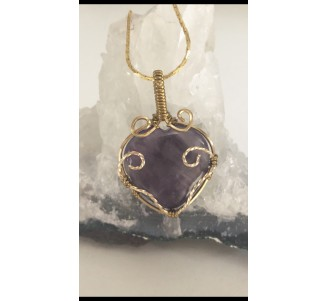 Amethyst Heart- Gold Filled-2