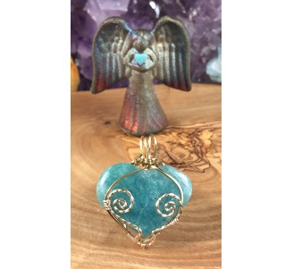Amazonite Heart with Gold Fill Wire
