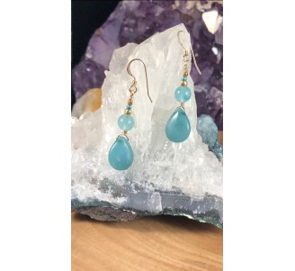 Apatite Teardrop Earrings/Beads with Gold Filled Wire